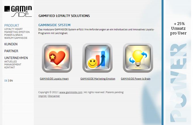 Screenshot Gaminside website 2012 - products