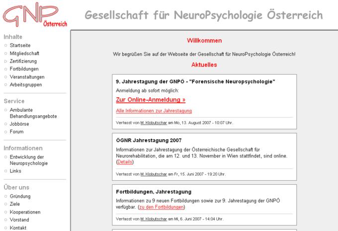 Screenshot GNPÖ Website - Willkommen