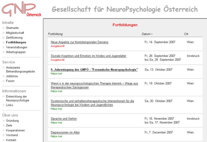 Screenshot GNPÖ Website - Fortbildungen