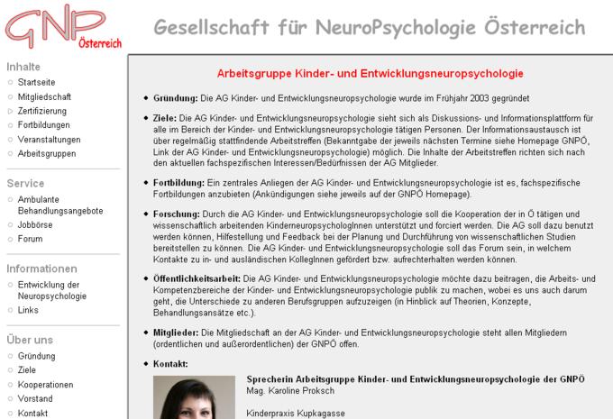 Screenshot GNPÖ Website - Arbeitsgruppe