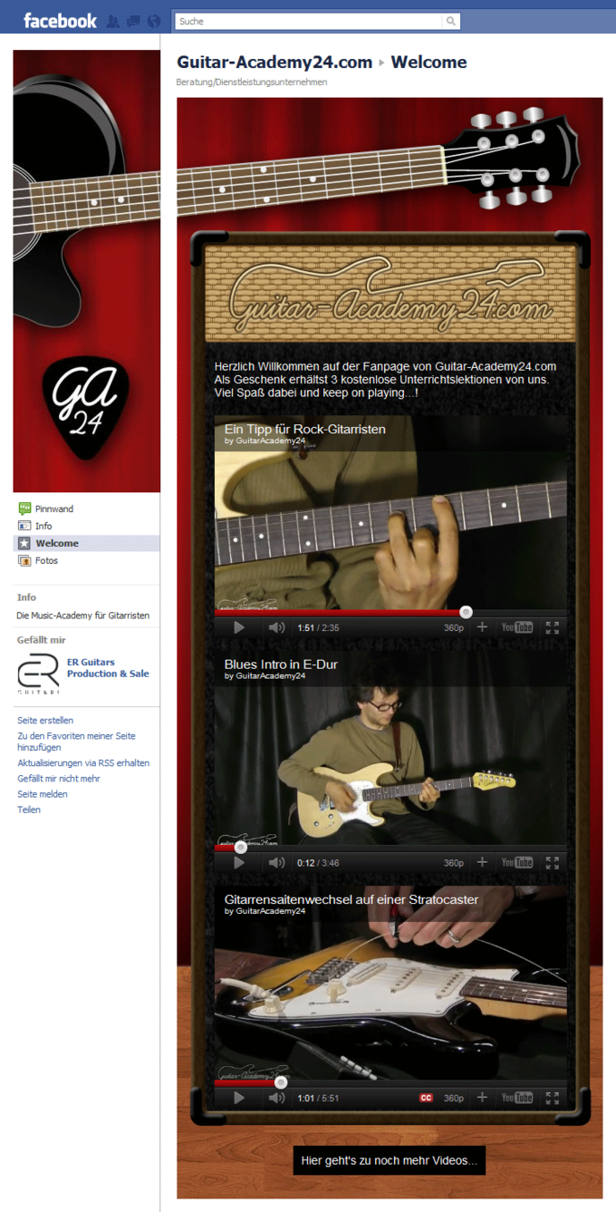 Screenshot Guitar Academy 24 Facebook Fan Page - 3 Free Lessons