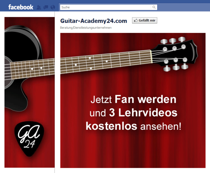 Screenshot Guitar Academy 24 Facebook Fan Page - Not yet a fan