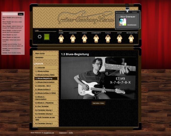 Screenshot Guitar-Academy24 Website - Blues Begleitung