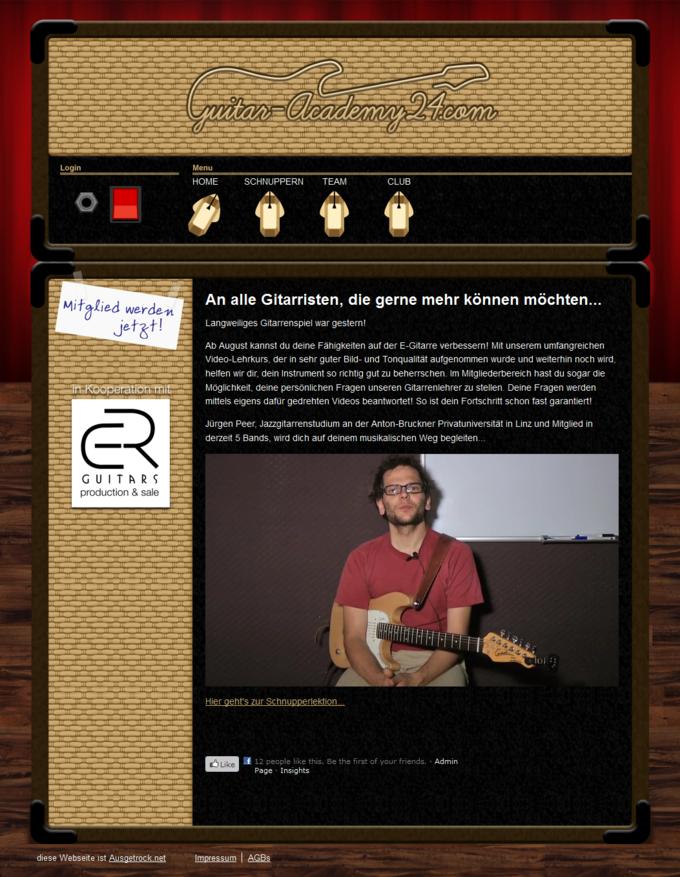 Screenshot Guitar-Academy24 Website - Start