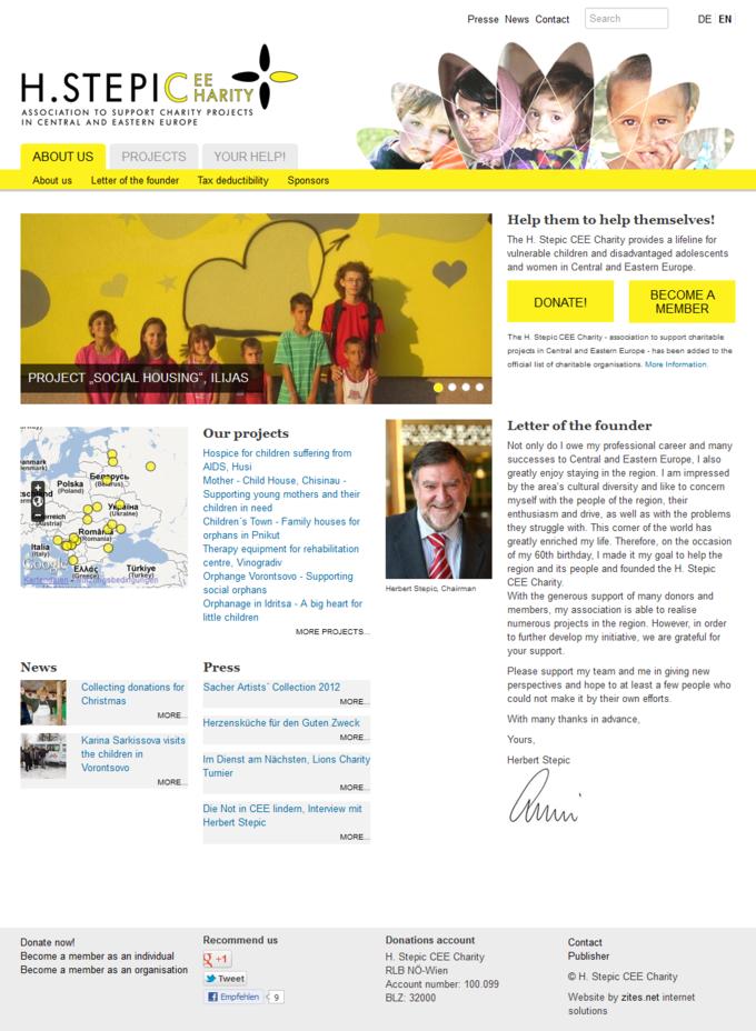Screenshot H. Stepic CEE Charity Webseite Start