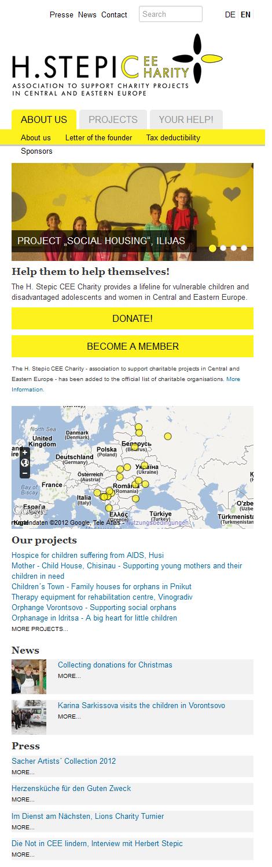 Screenshot H. Stepic CEE Charity Webseite Mobilansicht