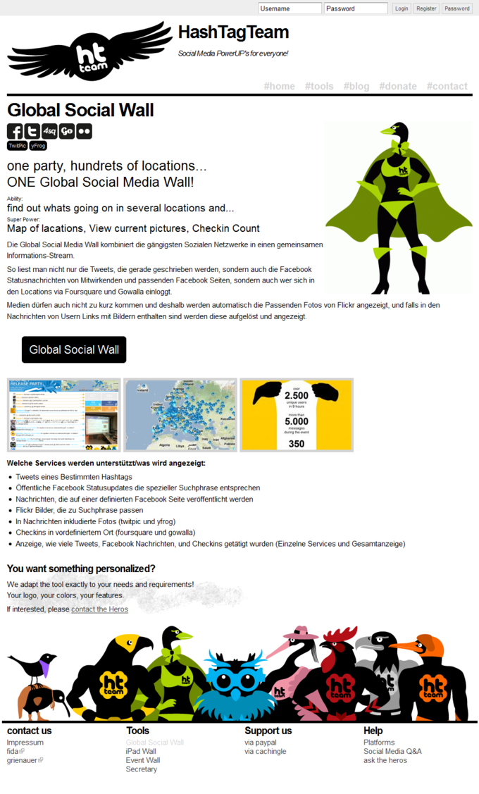 Screenshot Hash Tag Team Website - Global Social Wall