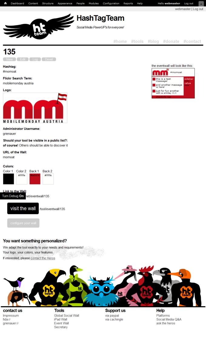 Screenshot Hash Tag Team Website - Eventwall Backend