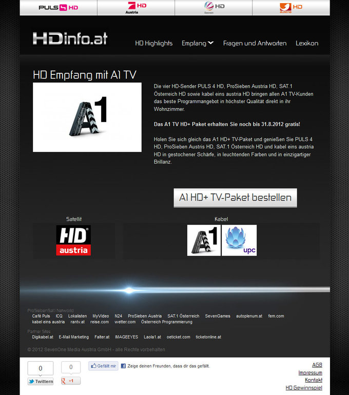 HDinfo Screenshot - HD TV with A1 TV
