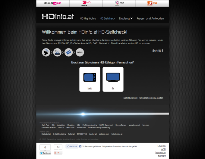 Screenshot HDinfo.at HD-Selfcheck Unterseite