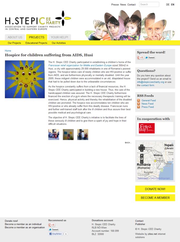 Screenshot H. Stepic CEE Charity Webseite Detail Projektansicht
