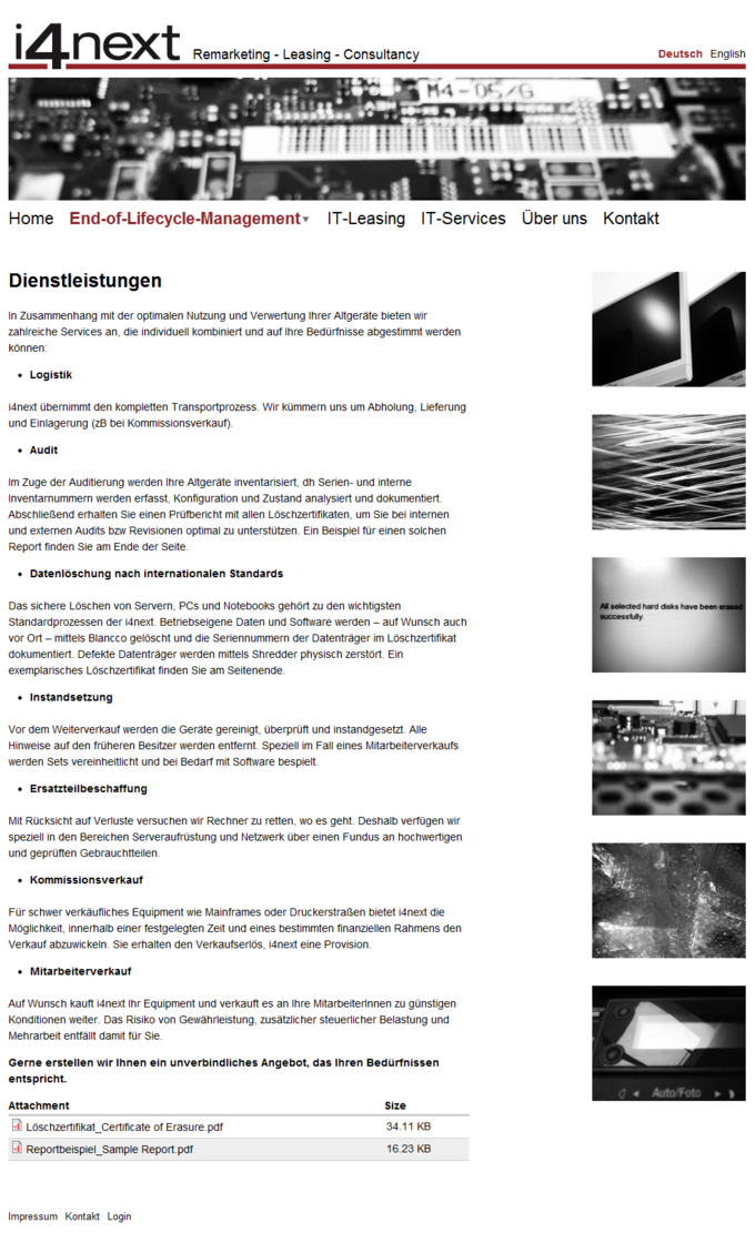 i4next Website Screenshot Services DE