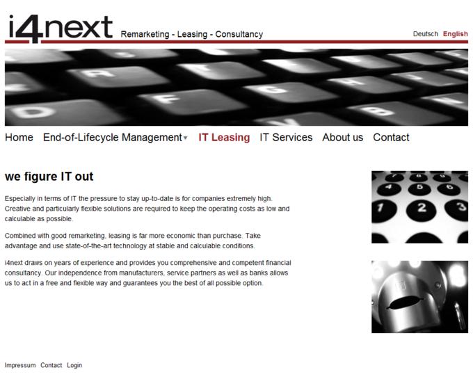 i4next Website Screenshot IT Leasing