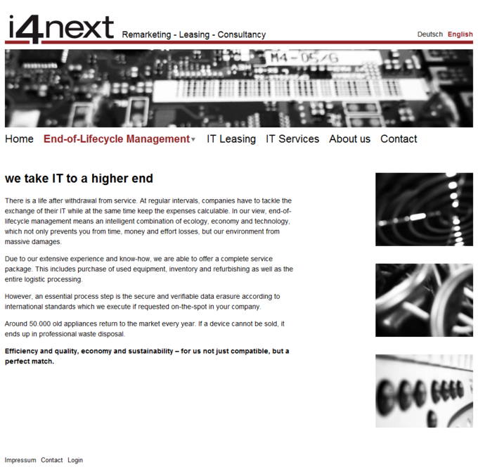 i4next Website Screenshot IT End-of-Lifecycle Management