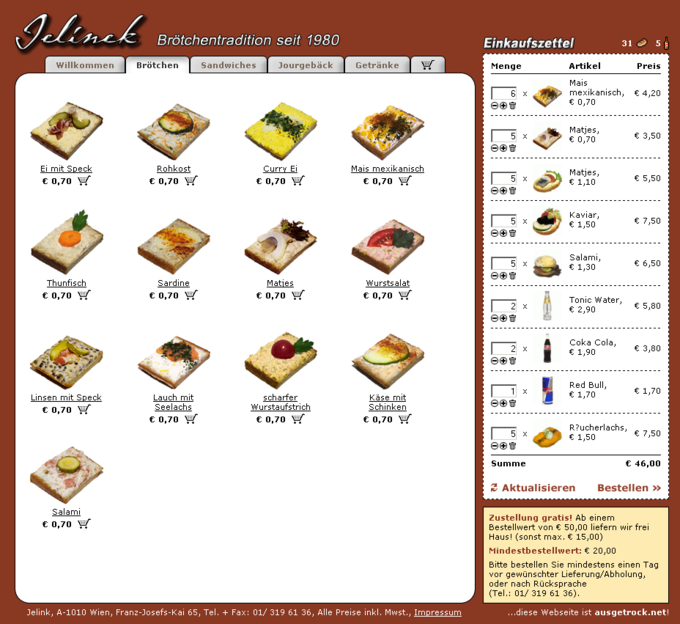 Screenshot Jelinek Partyservice Website - Shop