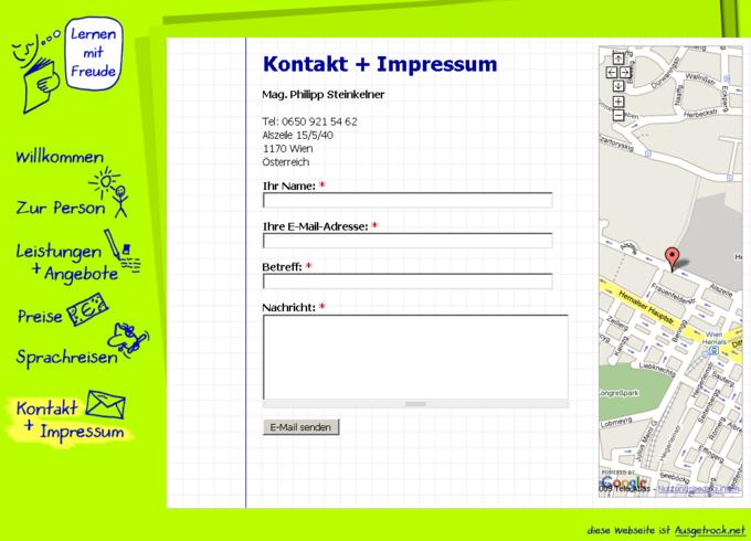 Screenshot Lernen mit Freude - Kontaktformular