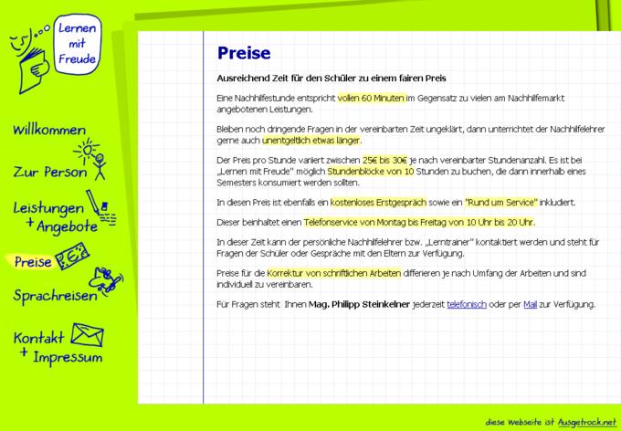 Screenshot Lernen mit Freude - Information