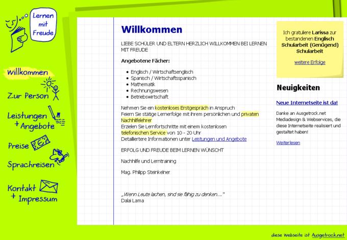 Screenshot Lernen mit Freude - Startseite