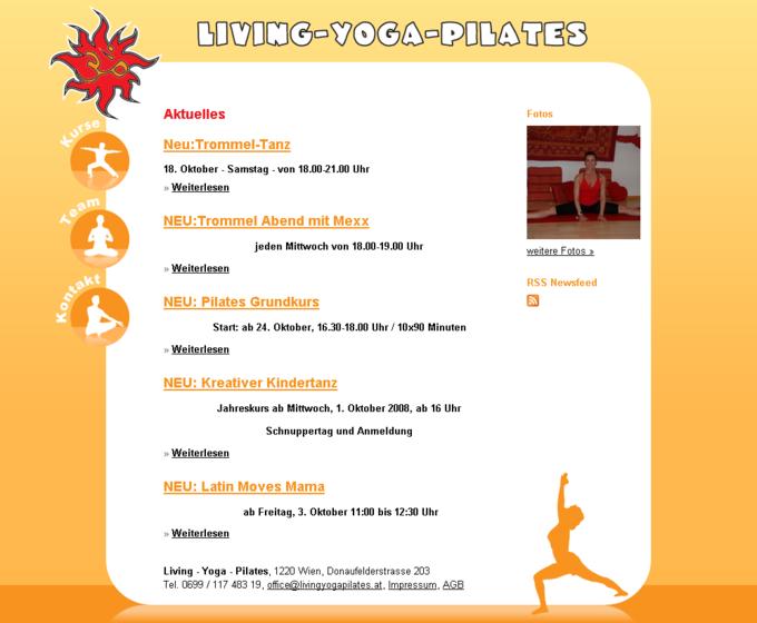 Screenshot Living Yoga Pilates Startseite