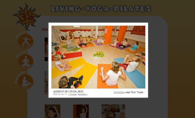 Screenshot Living Yoga Pilates Galerie