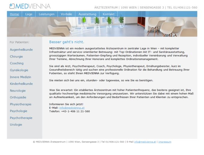 Screenshot Medvienna Website - Frontpage