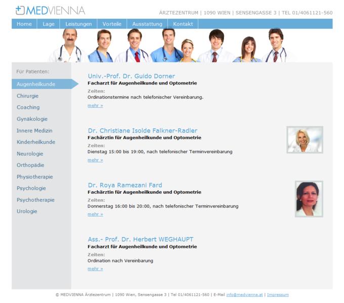 Screenshot Medvienna Website - Ärzte Übersicht
