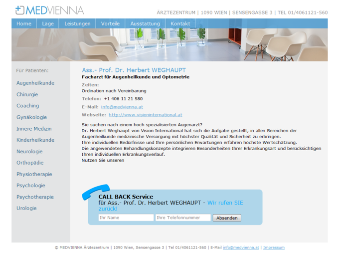 Screenshot Medvienna Website - Arzt Detailansicht