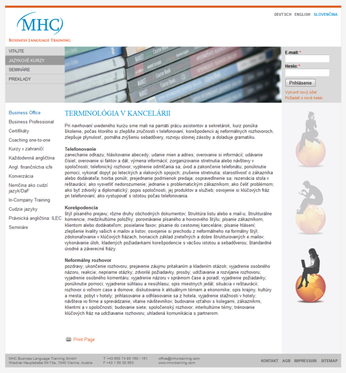 Screenshot MHC Business Language Training Website - Slovenian
