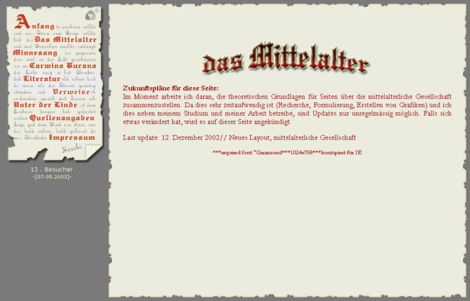 Screenshot Das Mittelalter Website - Frontpage