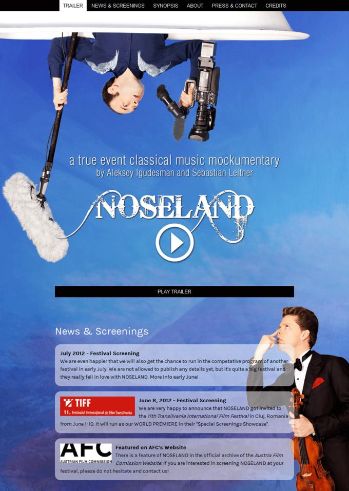 Noseland the movie - website screenshot start and news