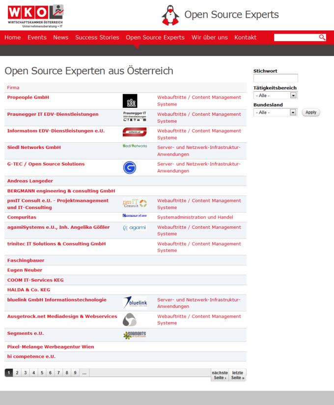 Open Source Experts Group - Screenshot - Mitglieder