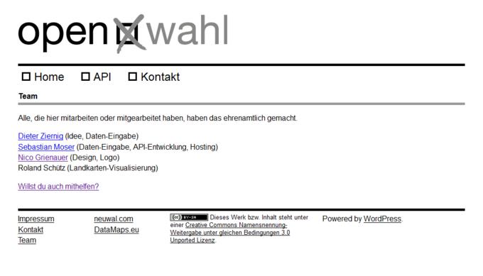 Screenshot open wahl Website - Team