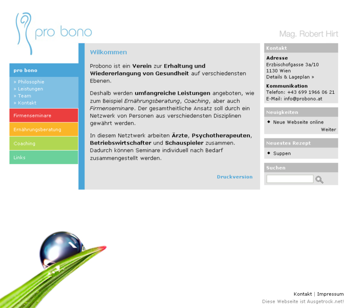 Screenshot Probono Website - Frontpage