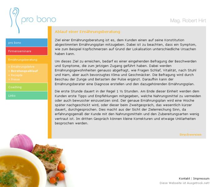 Screenshot Probono Website - Ablauf einer Ernährungsberatung