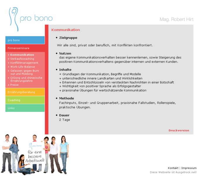 Screenshot Probono Website - Kommunikation