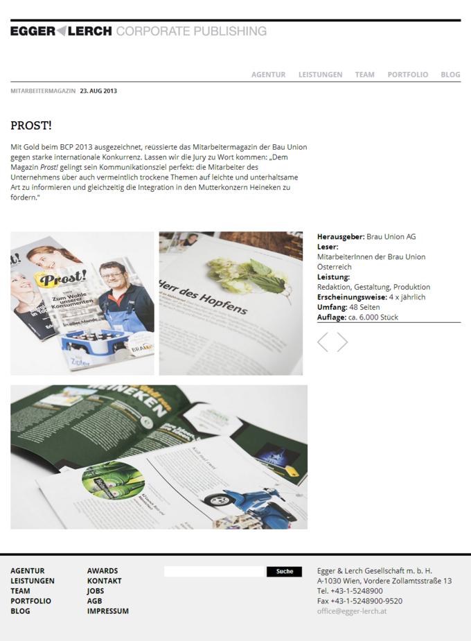 Egger & Lerch - Corporate Publishing - Screenshot of an Article