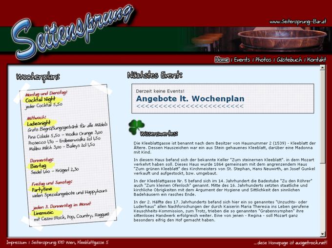 Screenshot Seitensprung Webseite - Startseite