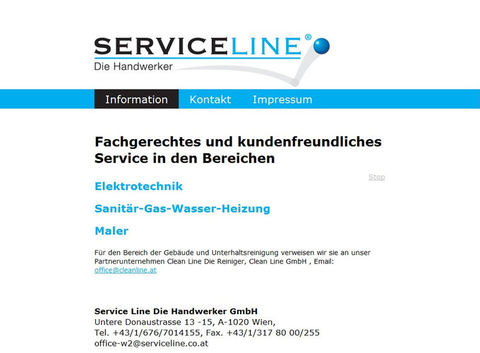 Screenshot Serviceline Website Frontpage