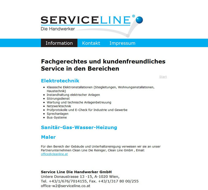 Screenshot Serviceline Website Elektrotechnik