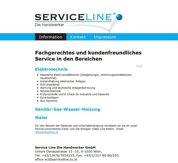 Screenshot Serviceline Website Elektrotechnik
