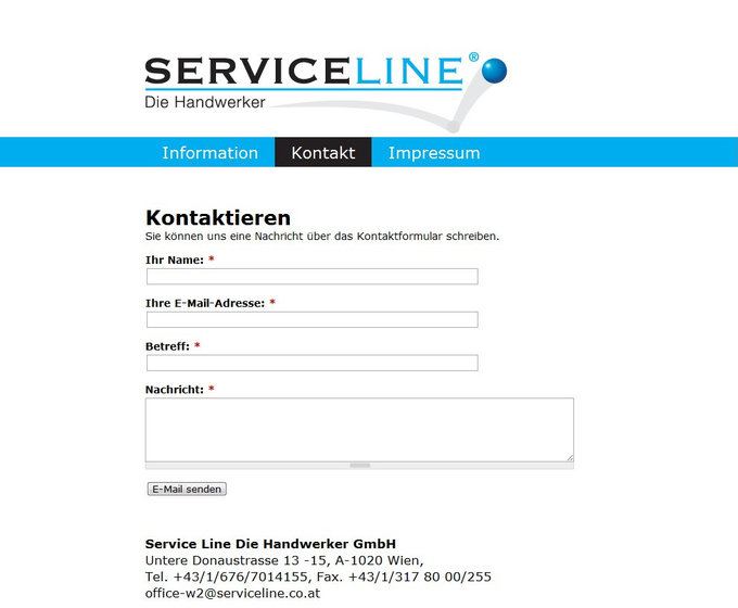 Screenshot Serviceline Website Kontakt