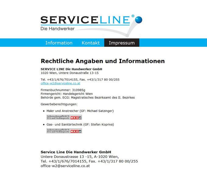 Screenshot Serviceline Website Impressum