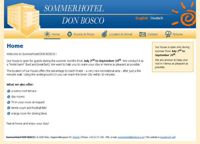 Screenshot Sommerhotel Webseite Home