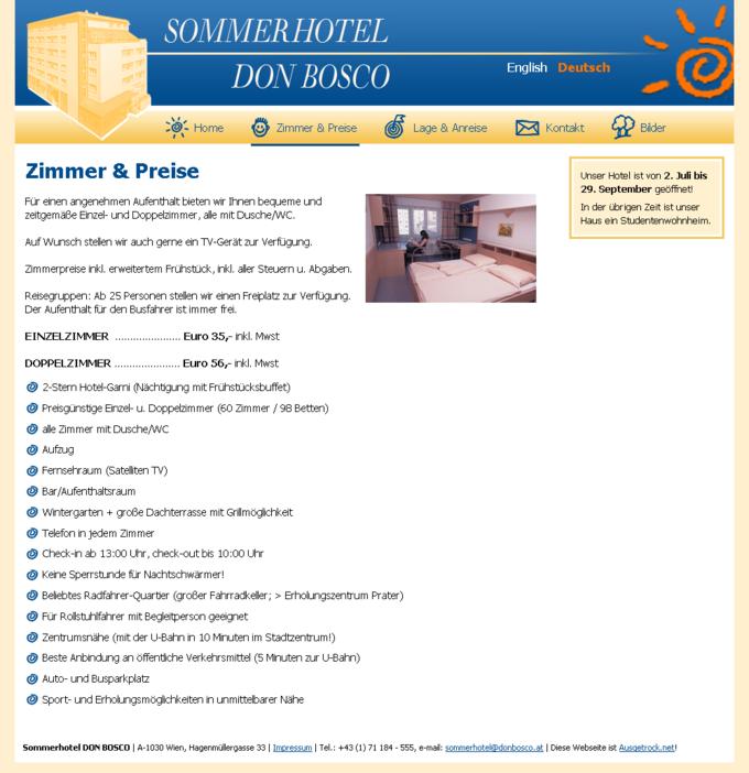 Screenshot Sommerhotel Webseite Zimmer und Preise