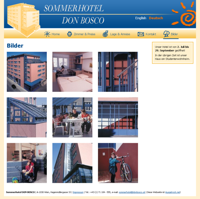 Screenshot Sommerhotel Webseite Bilder