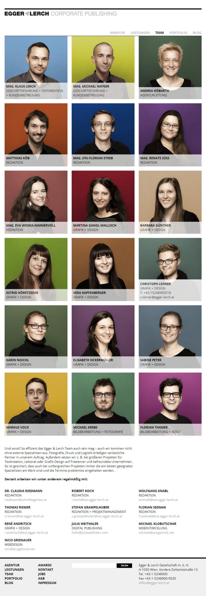 Egger & Lerch - Corporate Publishing - Team Screenshot