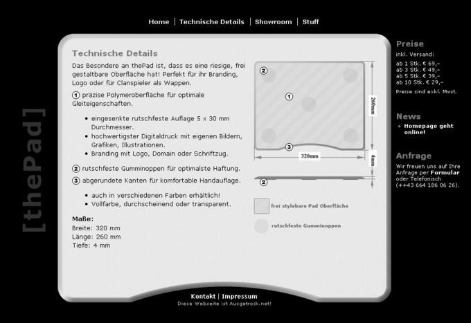 Screenshot ThePad Website - Startseite