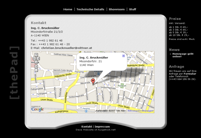 Screenshot ThePad Website - Info