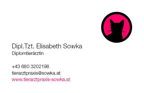 Tierarztpraxis Sowka Visitenkarte Vorderseite - Katze