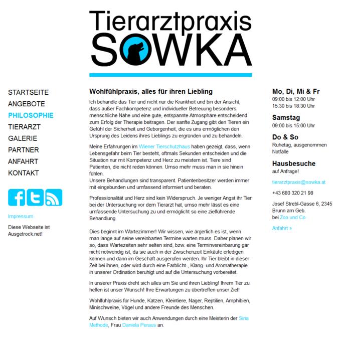 Screenshot Tierarztpraxis Sowka Philosophie